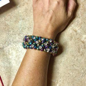 Jewelry - Elegant Multicolor Crystal Elastic Layer Bracelet